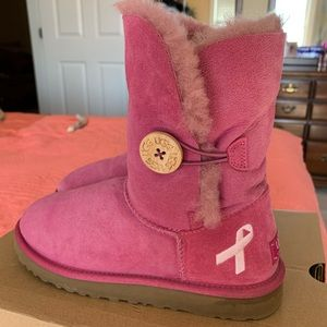 Breast Cancer Ugg button boots